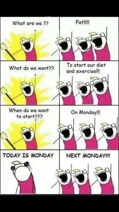I'll start dieting Monday. Swear. Wait.. Do I smell brownies?!? :: xLaurieClarkex~ visit www.hyperboleandahalf.blogspot.com for the original meme ;-):