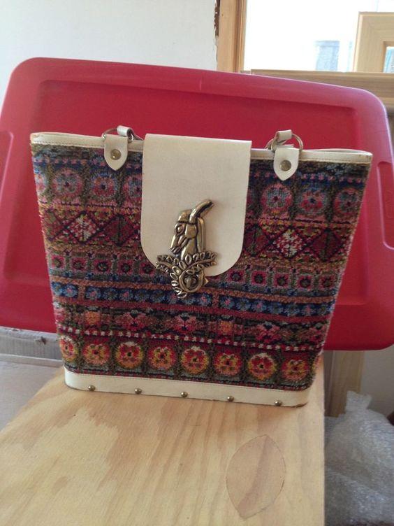 Enid Collins Vintage Fabric Carpet Bucket Bag