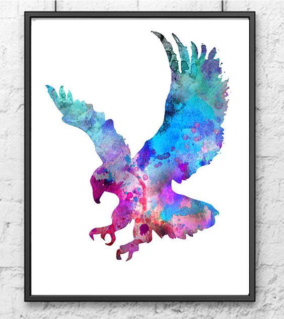 Aquarell Eagle Giclee Kunstdruck blau-lila-Kunst von Thenobleowl
