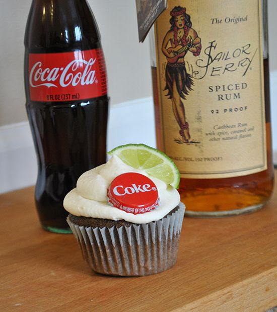 These rum and coke cupcakes are a boozy little treat made with Sailor Jerry Spiced Rum and classic Coca-Cola.