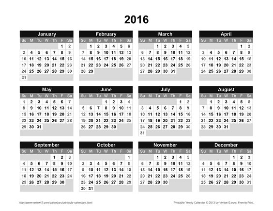 Download a free Printable 2016 Yearly Calendar from Vertex42.com