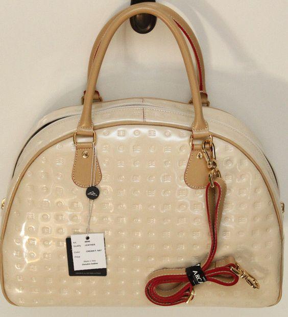 Arcadia Italian Leather Handbag/Tote ~ Cream/Natural ~ Satchel ~ Style #4896 ~