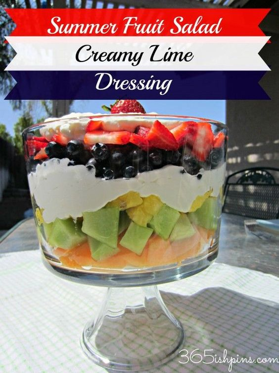 Day 6: Summer Fruits with Creamy Lime Dressing http://365ishpins.com #fruitsalad #summer #bbq