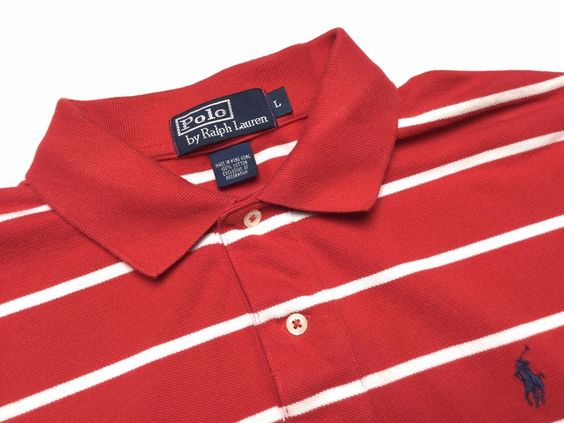 RALPH LAUREN Men\u0026#39;s L Red White Striped Short Sleeve Pique Polo Shirt ~ Blue Pony #
