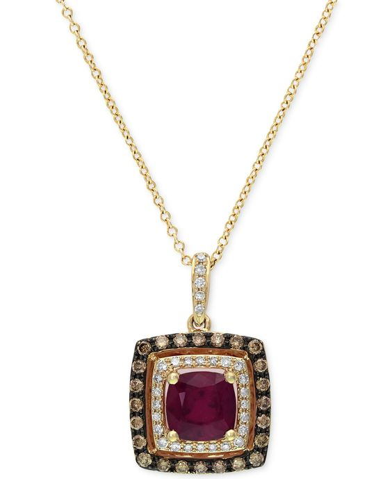 Red Velvet by Effy Ruby (1-3/8 ct. t.w.) and Brown Diamond (1/3 ct. t.w.) Square Pendant in 14k Rose Gold