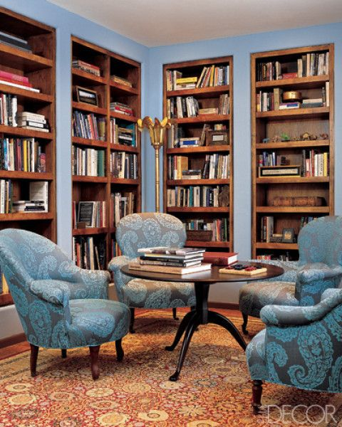 Marvelous Built In Bookcases + Color | Libraries With Pizazz | Pinterest | Elle  Decor, Decorating And Traditional