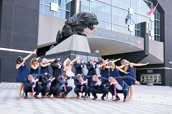 Panthers Pride Carolina Panthers Dab Bank of American Stadium Charlotte Charlotte Wedding Stunning & Brilliant Events Old South Photography