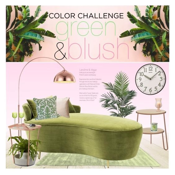 """Color Challenge: Green and Blush"" by stylect ❤ liked on Polyvore featuring interior, interiors, interior design, home, home decor, interior decorating, Nearly Natural, Eichholtz, Umbra and Baccarat"