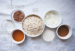 sugar free no bake cookies  ...   1/2 cup honey,   1/4 cup + 1/8 cup cocoa,   1/4 cup milk,   1/4 cup coconut oil,   1/4 cup peanut butter,   2 cups oats,    few drops vanilla,   pinch of salt