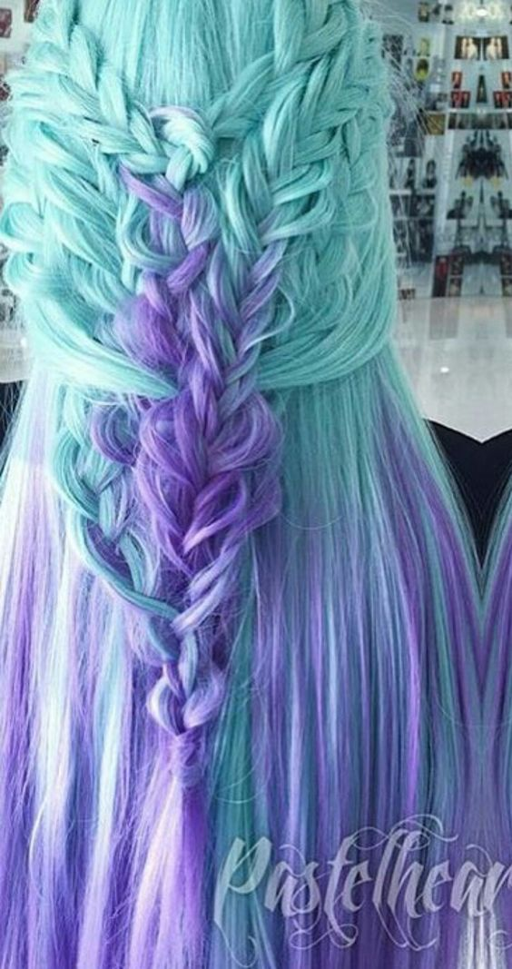 Blue purple dyed hair color in ombre