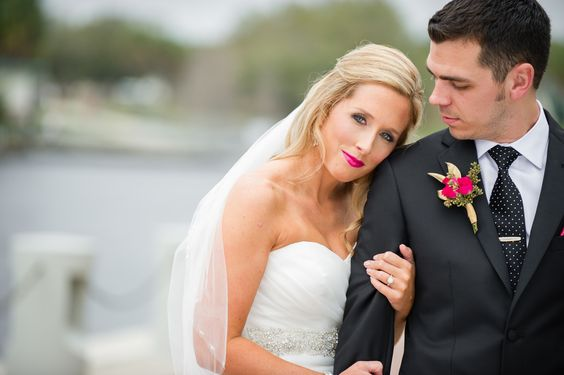Heather & Jonah | Wedding in Tampa Bay | Hot pink and gold boutonniere. #andrealaynefloraldesign #tampaweddings