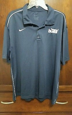 "Nike DRI-FIT Navy S/S Polo Shirt with ""bulls"" LOGO & White Piping Mens XL"