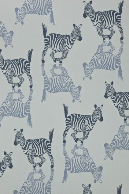 Zebra Wallpaper - pewter, silver and charcoal or blue/grey