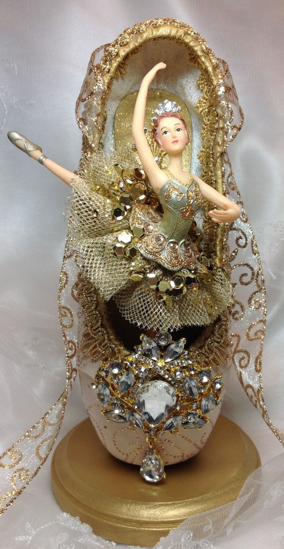 Ivory and gold ballet centerpiece ooak decorated pointe