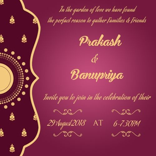 Prakash Banupriya 29 August 2018 6 7 30pm Name Image Of Wedding