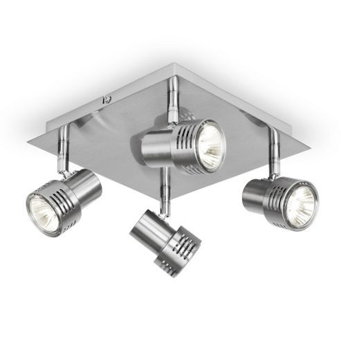 Tesco Modern Four Way Square Ceiling Spotlight in Brushed Chrome