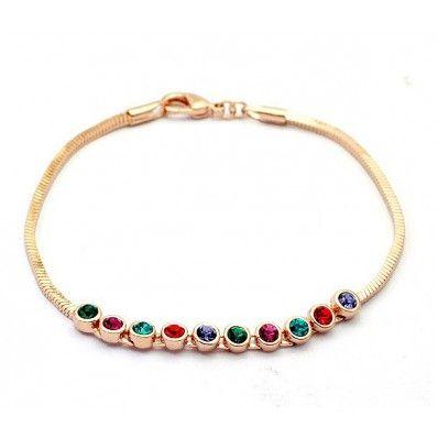 18K RGP Swarovski Colored Diamonds Link Bracelet - Bracelets - Jewelry Free shipping