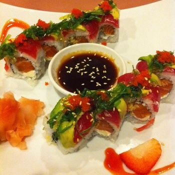 Black Forest Roll - Salmon, Cream Cheese, Avocado, Tuna, Seaweed Salad, Masago, Miso Garlic Sauce