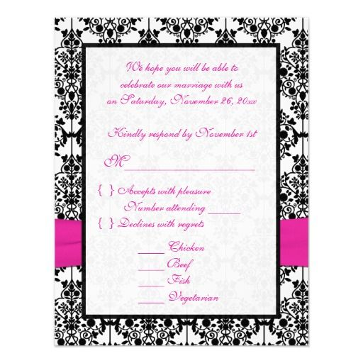 Pink, White and Black Damask RSVP Card Custom Announcements