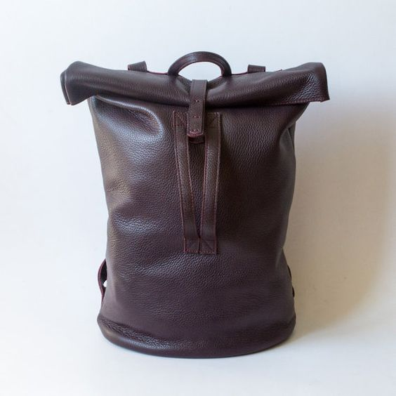 Backpack -Leather Backpack- Leather Bag - Casual Bag -Totes Purse Designers Bag- Rolltop - Handmade Bag - Unisex - Handmade Backpack