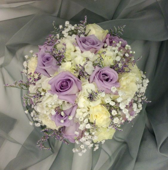 Lavender Rose Gypsophila Bridal Bouquet: Lavender And White Bridal Bouquet With Hydrangeas, Roses