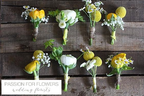 yellow wedding buttonholes for groomsmen