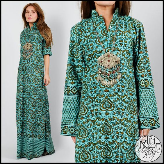 vintage 70s INDIA ethnic cotton CAFTAN Maxi Dress S hearts boho ...