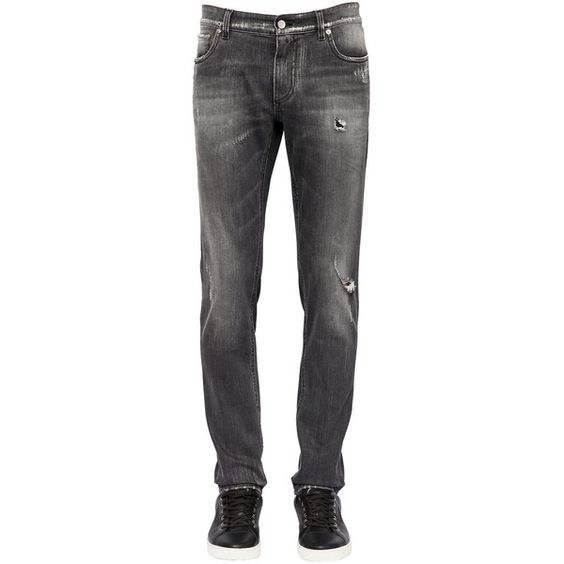 Dolce & Gabbana Men 16.5cm Stretch Cotton Denim Jeans (4,950 EGP) ❤ liked on Polyvore featuring men's fashion, men's clothing, men's jeans, grey, mens jeans, mens gray jeans, dolce gabbana mens jeans, mens ripped jeans and mens button fly jeans