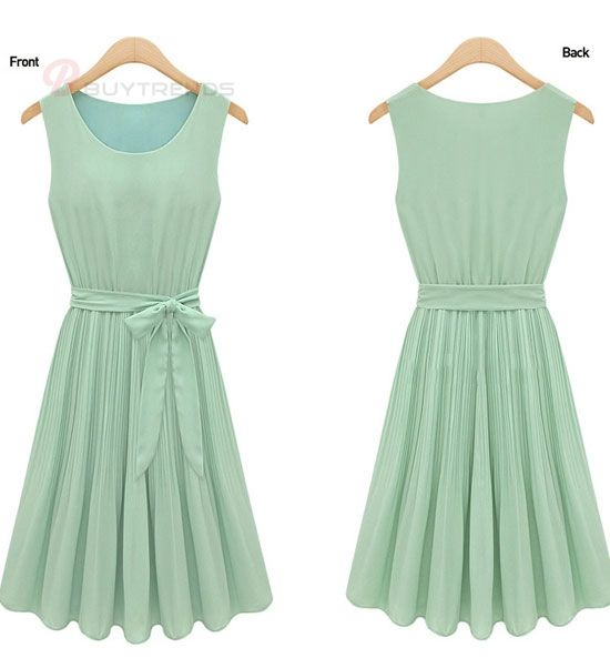 Solid Color Sleeveless Drape Bowknot Belt Ladies Chiffon Dress - BuyTrends.com