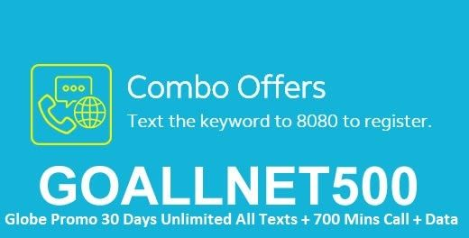 Most People Choose To Sign In A One Time Promo That Caters All Of Your Communication Needs With Globe Goallnet500 You Can Have A Combo Bundle W Texts Data Day