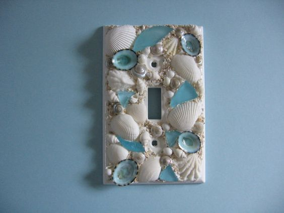 seashell and seaglass encrusted single light switch plate cover aqua and white on etsy aqua shard subdued lighting