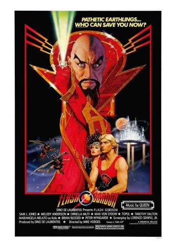Filme: Flash Gordon (1980). Direção: Mike Hodges. Elenco: Sam J. Jones, Melody Anderson e Max von Sydow.