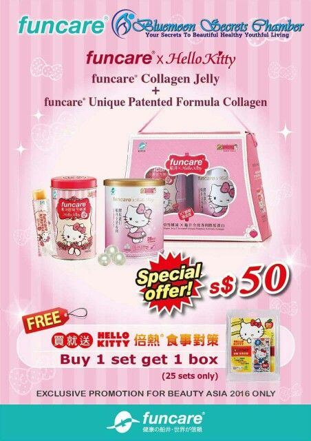 Usual price $62, Special price only $50 for tomorrow to thank all my fans plus free Hello Kitty Food Strategy Capsules worth $26 (Calories Blocker) At Beauty Asia 20th Exhibition Suntec City Convention Hall 4. Booth J1150. Till only.    #BeautyAsia2016 #Funcare #collagen #HelloKitty  #BluemoonSecretsChamber #suntecCity   BluemoonSecretsChamber.com You One Stop Beauty Heath and Weight-loss Chamber