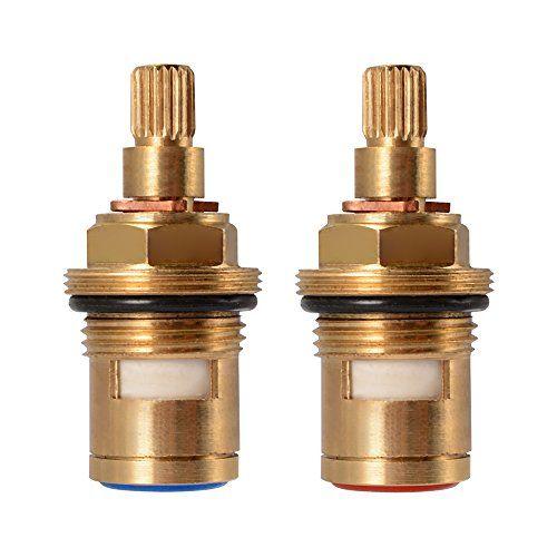Xcsource 1 Pair Replacement Brass Ceramic Stem Disc Cartridge Faucet Valve Quarter Turn G1 2 For Bathroom Kitchen Tap Hs920 Tap Valve Faucet Valves Ceramics