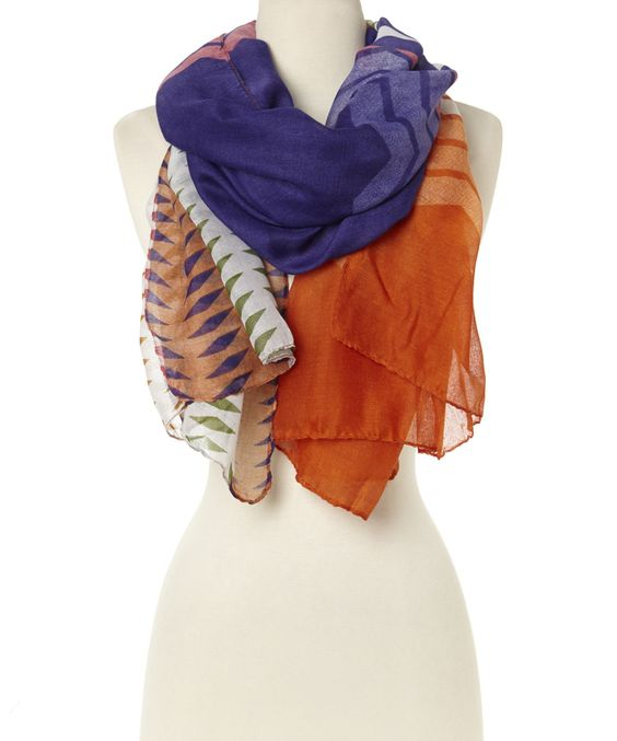 This Purple & Orange Geometric Scarf by Barrington is perfect! #zulilyfinds