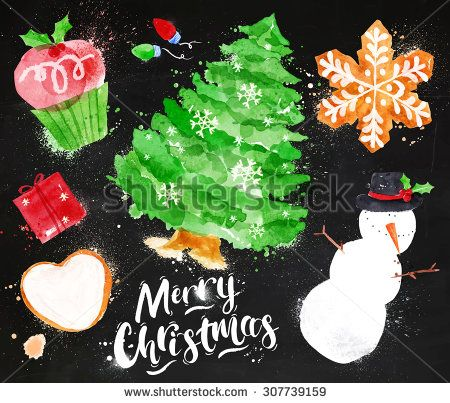 Christmas symbols lettering Merry Christmas with cupcake, Christmas tree, gift, cookie, snowman, garland, snowflake drawing in vintage style on blackboard