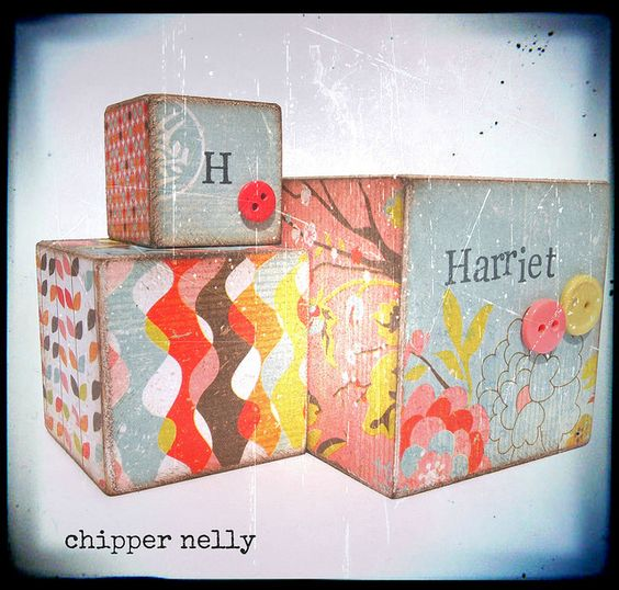 H is for Harriet Block with buttons