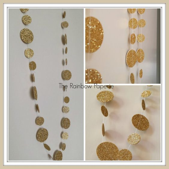 3m Glitter Gold Circles Paper Garland by TheRainbowPaperie #wedding #christmas #decoration