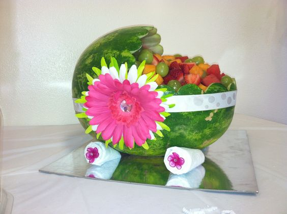 Diy baby shower idea watermelon bassinet 1 cut 1 4 of the for Creative edge flowers