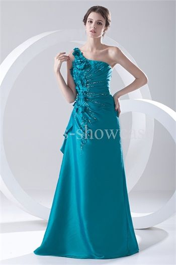 Sapphire Blue Graduation Floor-Length Taffeta Special Occasion Dress just US$ 169.99 for U. This evening dress features one shoulder neckline and a-line silhouette. Made of taffeta in sapphire blue. Pleated skirt with floor length hemline. Beading and handmade flowers decorated along with the side dress. Side hidden zipper closure.  #eveningdress #formaldress #dress #longdress #specialoccasiondress