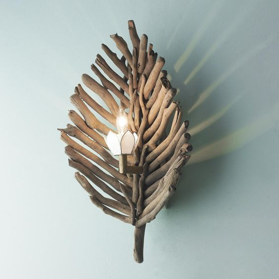 Driftwood Leaf Wall Sconce: