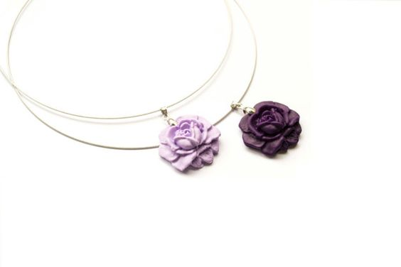 Purple Rose Necklace. Deep Purple or Lilac Flower Polymer Clay Pendant. Purple Jewelry. Flower Jewelry. Bridesmaid Gifts. Flowergirl Gift  Description:  -- Polymer clay flo...