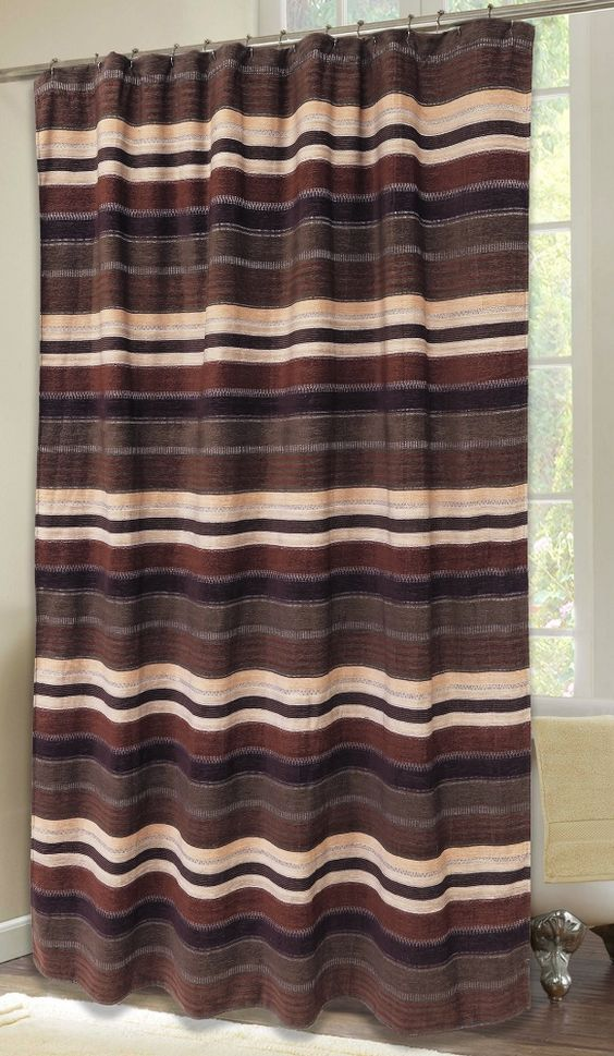 Old West Stripe Chenille Fabric Shower Curtain