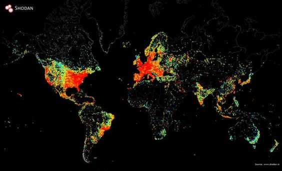 Map of devices directly accessible from the Internet
