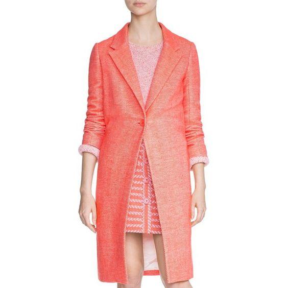 Maje Gita Woven Coat (16,175 THB) ❤ liked on Polyvore featuring outerwear, coats, orange, red overcoat, red coat, tweed coat, maje coat and maje