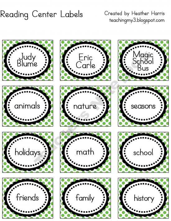 Classroom Labels  Book bins, tables, name plates, leveled reading library, school supplies, calendar set