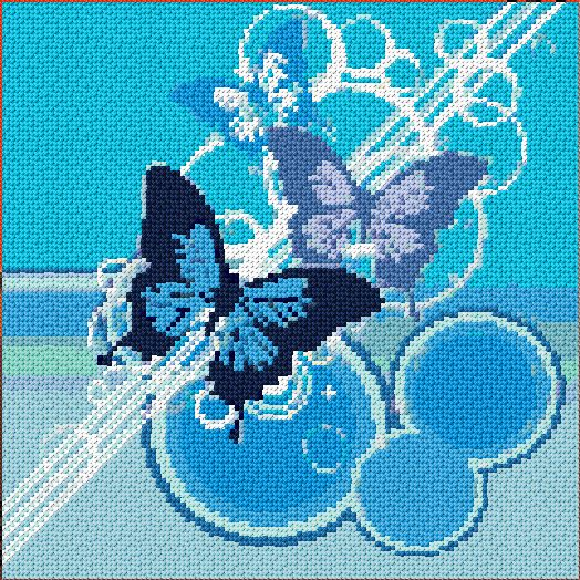 Free Butterfly Cross Stitch Patterns | 366 mm stitch style cross stitch using 2 strands