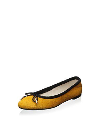 ALL BLACK Women's Pony Ballet Flat (Yellow)