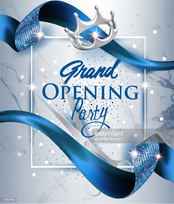 Vector Art Elegant Grand Opening Invitation Card With Blue Textured Curled Blue Ribbon And Marble Grand Opening Invitations Grand Opening Grand Opening Party