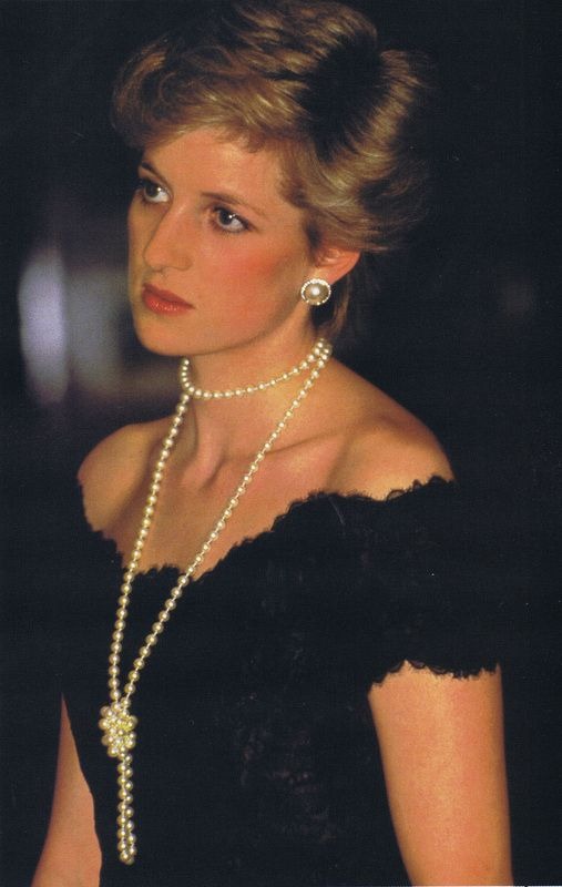 Princess Diana long pearl necklace and pearl earrings                                                                                                                                                      More